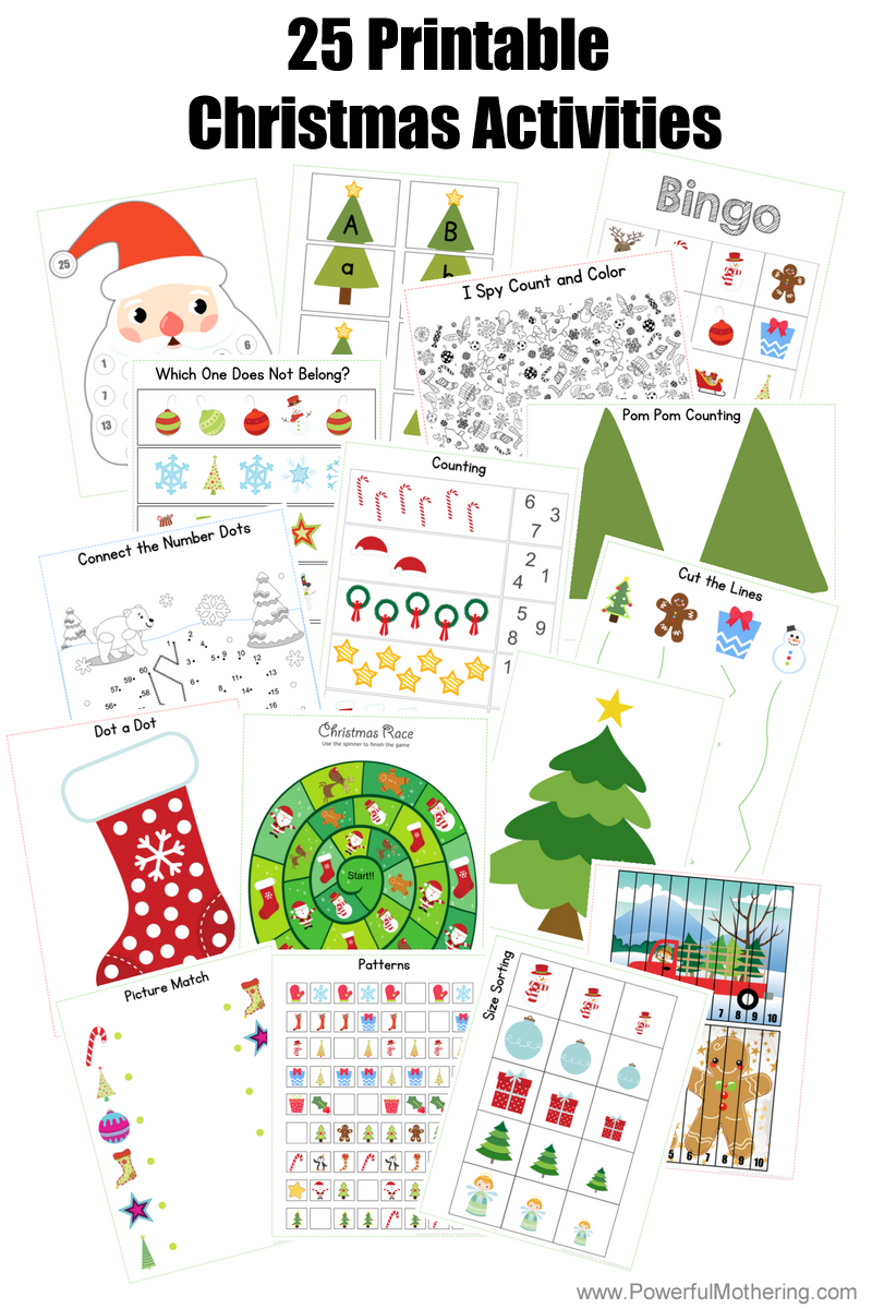 25 Printable Christmas Activities for Preschoolers and Older Toddlers