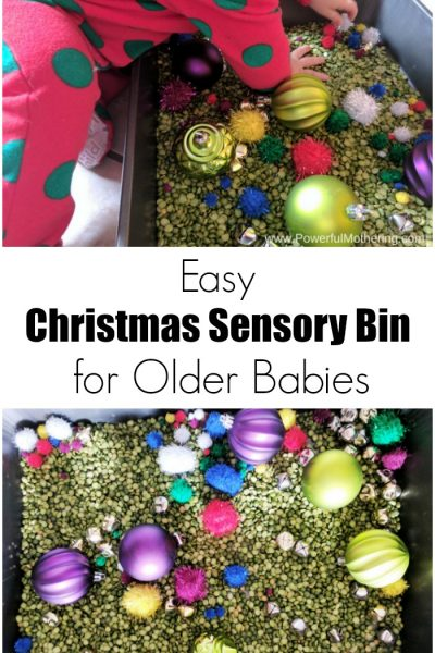 Easy Christmas Sensory Bin for Older Babies