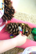 Fine Motor Practice with Pom Poms and Pinecones