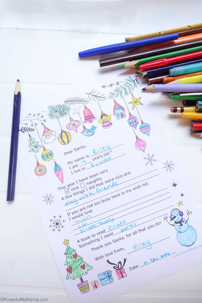 Printable Letter To Santa Preschool
