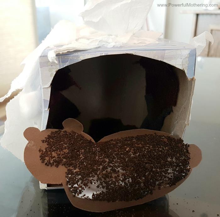 Bear Hibernation Craft With Dried Coffee Grounds