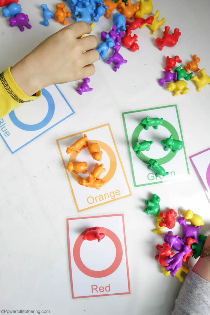 Color Sorting And Counting Cards For Toddlers