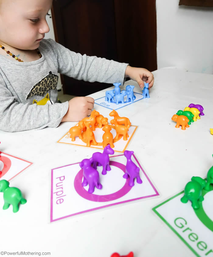 Color Sorting Game For Toddlers With Cards
