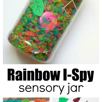 Make An I Spy Sensory Jar For Toddlers Using Rainbow Rice