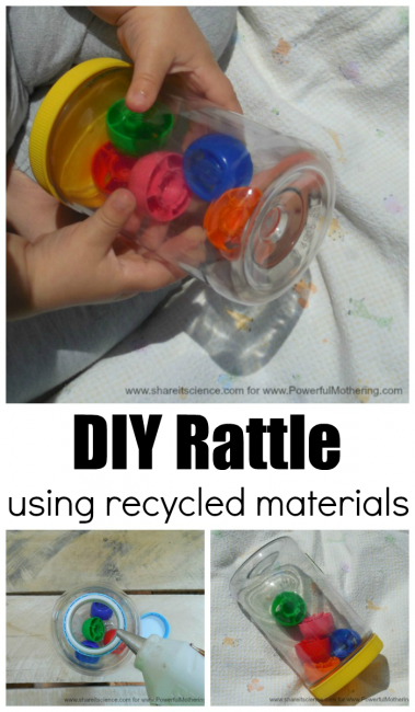 Super easy diy rattle for baby using recycled materials for Easy recycled materials