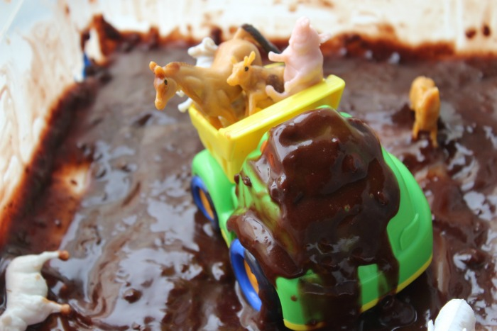 little blue truck edible sensory bin