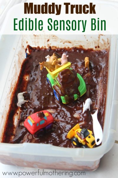 Muddy Truck Edible Sensory Bin with Little Blue Truck