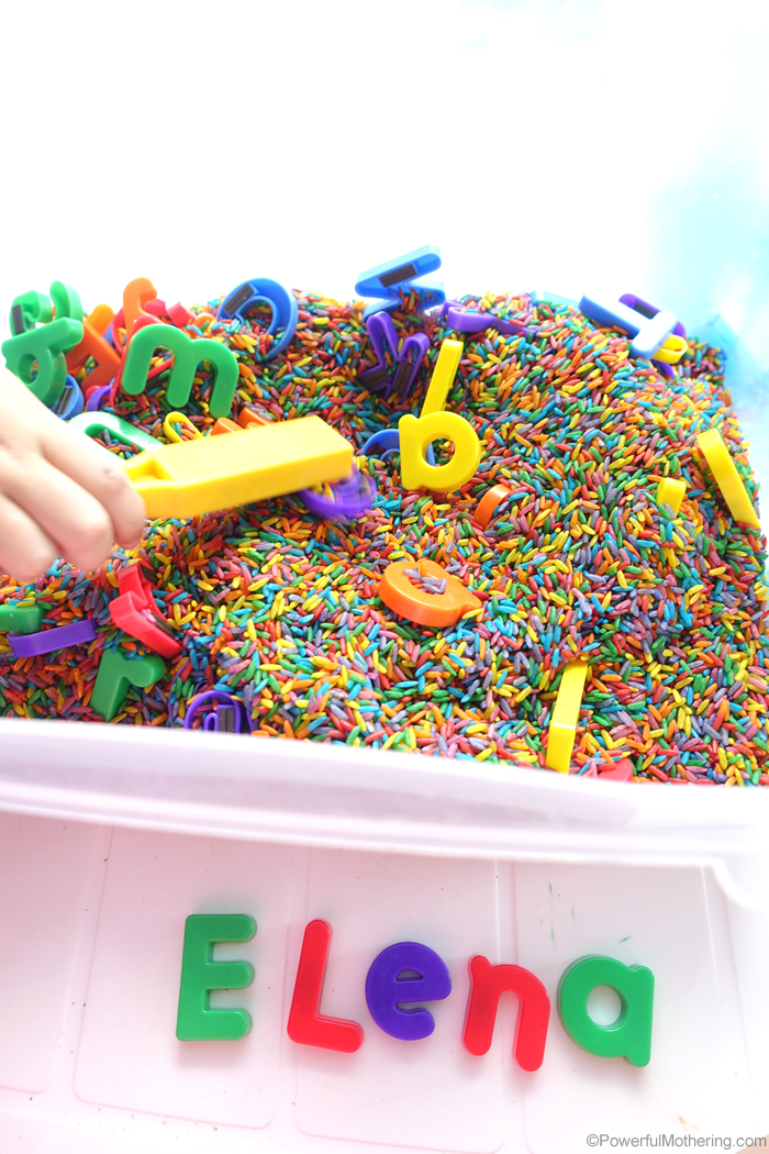 Name Search Sensory Bin