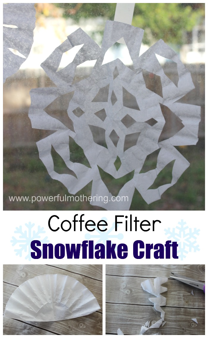 Coffee filter snowflake craft based on the snowy day by for Coffee crafts