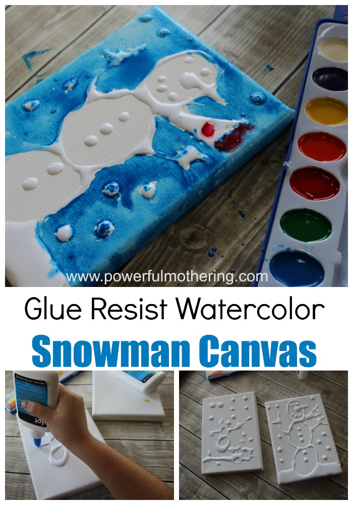 Glue resist watercolor canvas snowman art project - What temperature can you paint outside ...