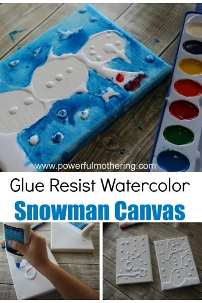 Glue Resist Canvas Snowman Art Project