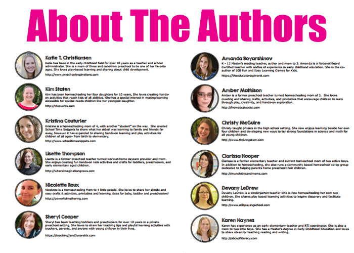 About The Authors Of Preschool Lesson Plans Bundle. 20 Themes Each With 24 Preschool Learning Ideas.