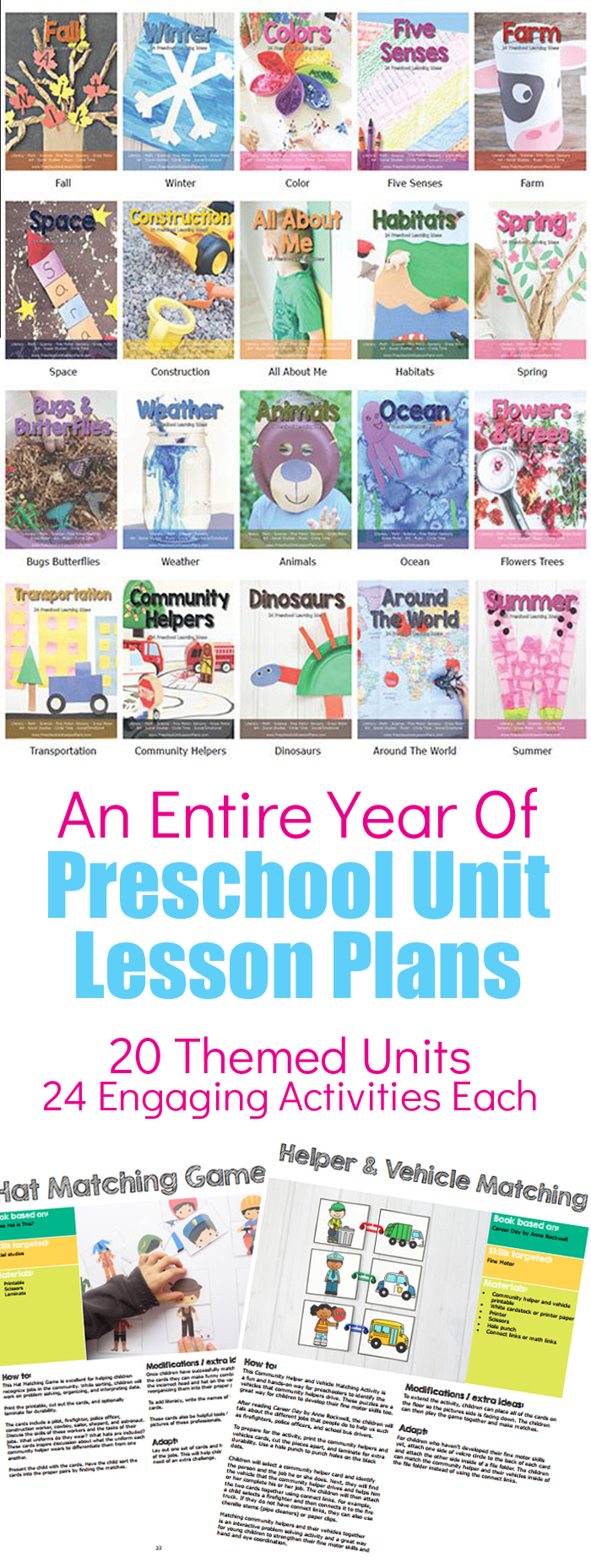 Preschool Themed Units Bundle. 20 Themed Units Each With 24 Hands On, Engaging Activities