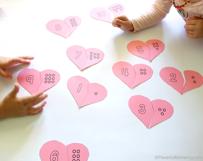 Heart Counting Cards Printable