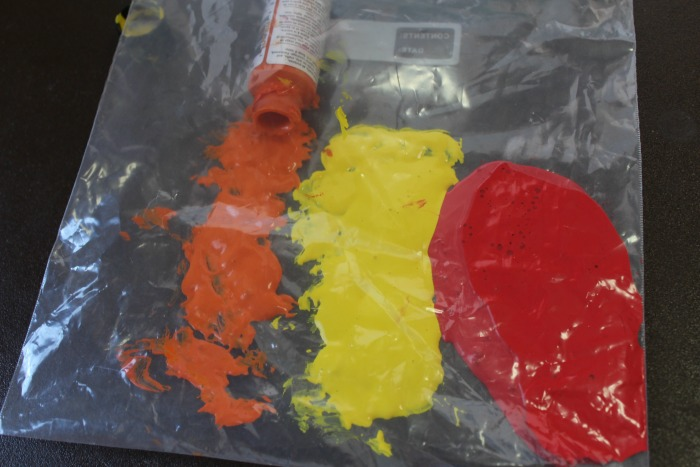 paint sensory activity in a bag