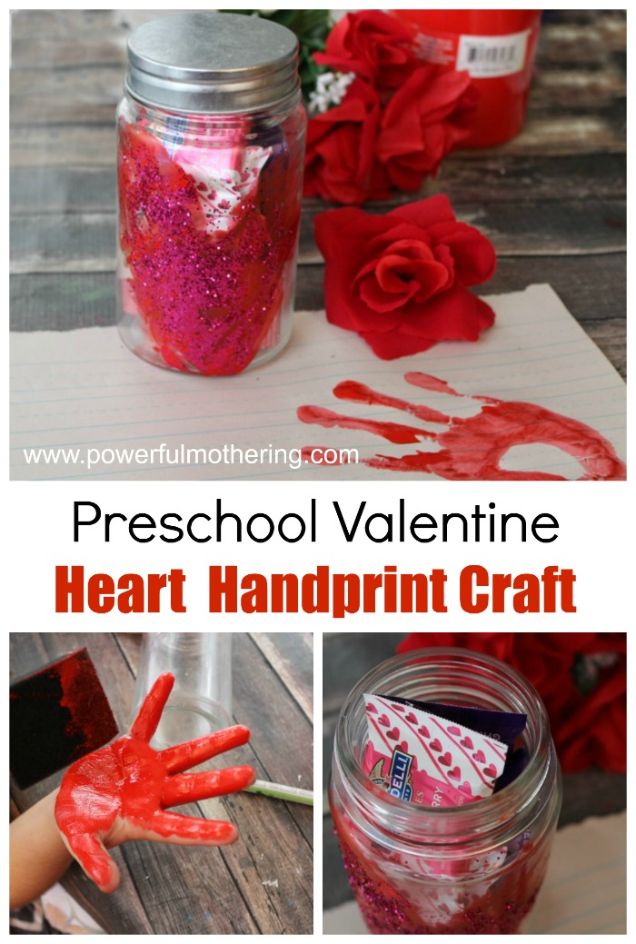 Valentine hearts handprint craft idea