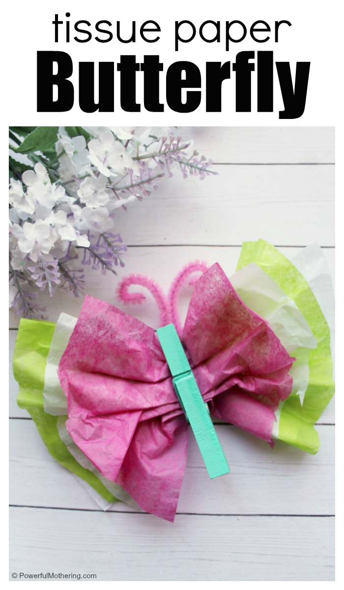 Make A Tissue Paper Butterfly With Kids