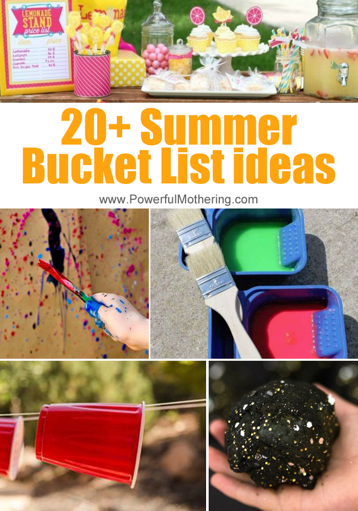 20+ Super Fun Summer Bucket List Ideas For Kids. Outdoor ideas for when it's sunny and warm as well as indoor ideas in case it rains or is too hot!