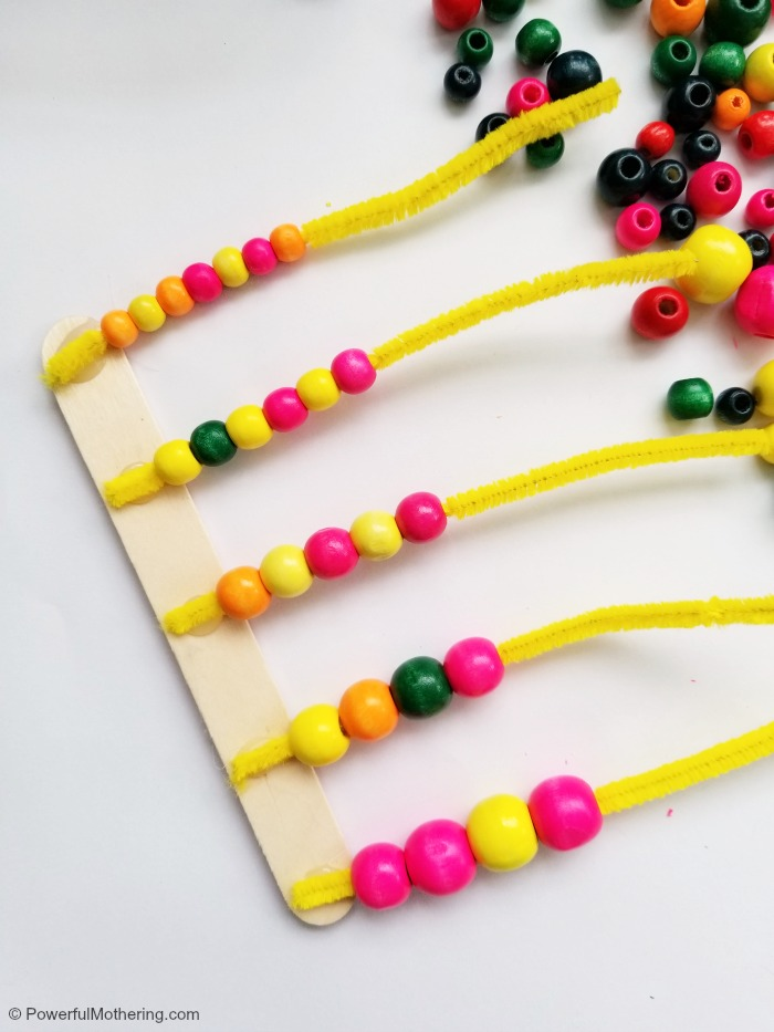 Adding Beads To Homemade Abacus Number Counter