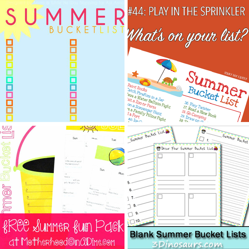 Printable Summer Bucket List Templates for fun summer activities for kids!