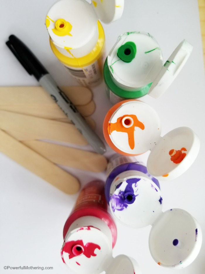 Materials For Rainbow Garden Markers Craft