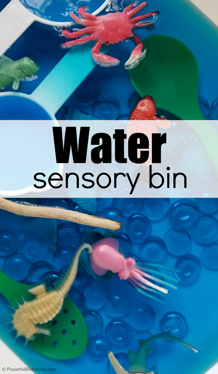 ocean themed water sensory bin