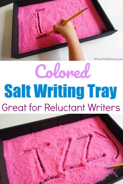 Colored Salt Writing Tray For Reluctant Writers