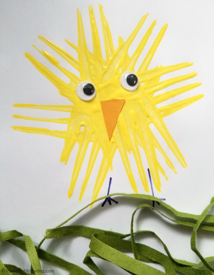 Fork Stamped Chicken Craft For Kids