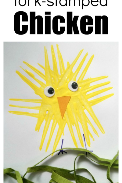 How To Make A Fork Stamped Chicken Craft For Kids