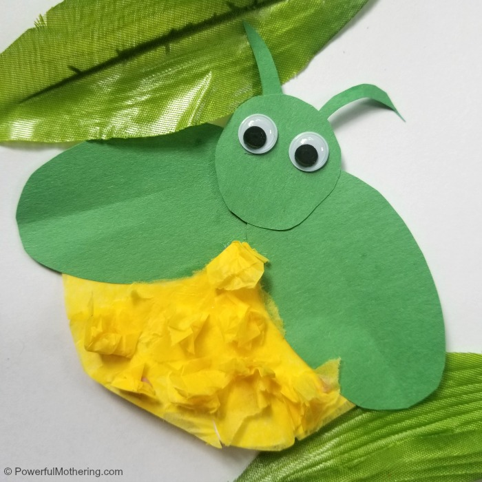 Completed Tissue Paper Firefly Craft For Kids