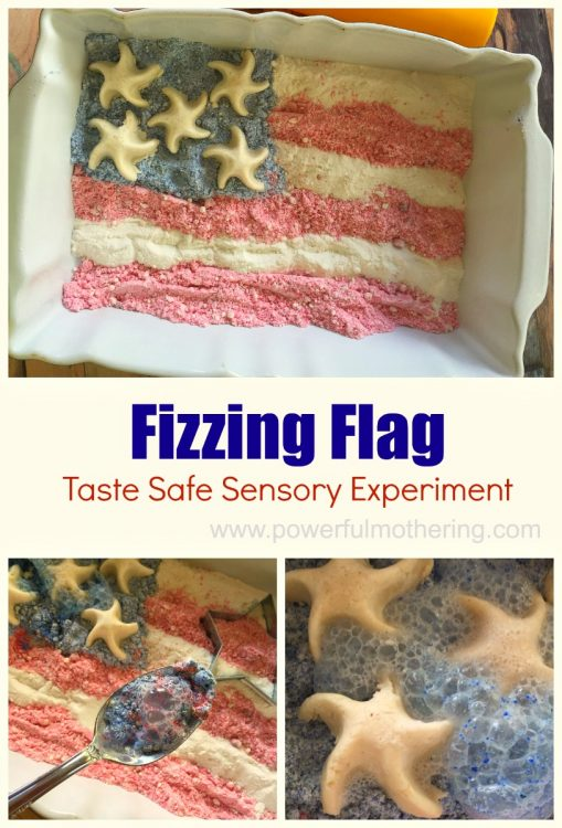 fizzing flag taste safe sensory experiment for kids
