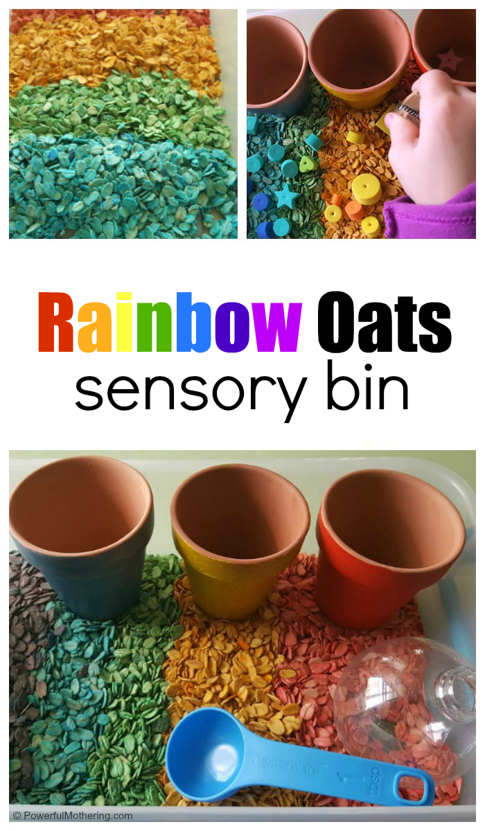 How To Set Up A Rainbow Oats Sensory Bin For Kids