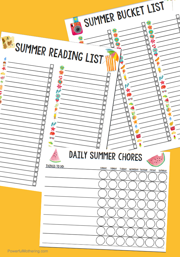 Printable Summer Calendar Bundle - 13 Page Printable Set For All Your Summer Calendar & List Needs