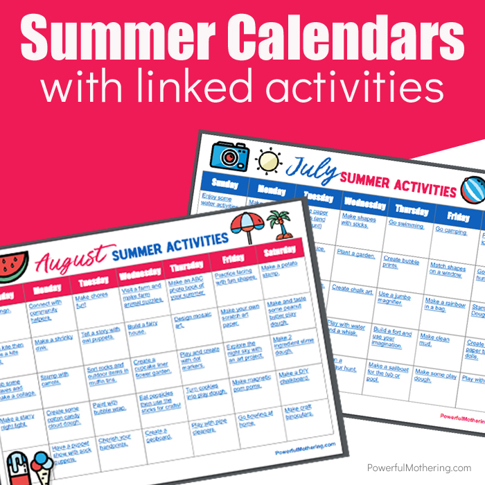 A perfect way to help keep boredom away and children engaged is with this Summer Calendar with Linked Activities For Kids!