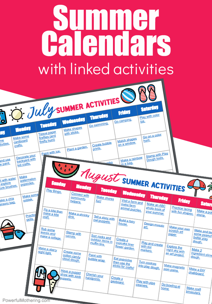 Summer Calendars With Linked Activities For Families!