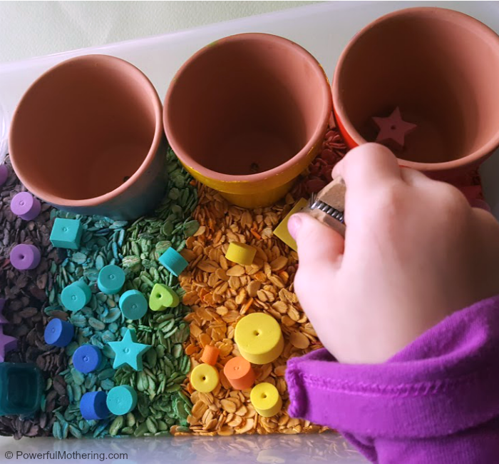Fine Motor Skills And Rainbow Oats Bin