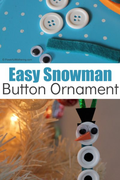 Snowman Button Ornaments For Kids To Make