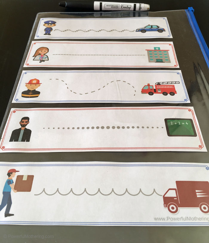 Community helper themed prewriting activity for toddlers and preschoolers. They will be having so much fun they'll never know they're strengthening skills!