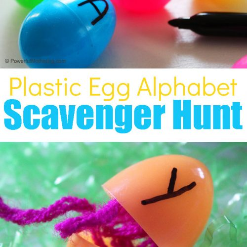 A super fun Easter inspired alphabet game to help kids have fine while practicing letter recognition and strengthening gross motor skills!