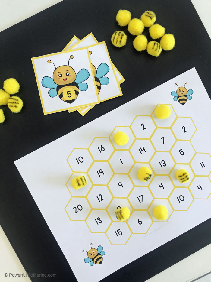 This Buzzing Bee Math Cards and Game is a fantastically fun way to help kids identify numbers 1-20.
