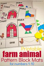 Farm Animal Pattern Block Mats For Numbers 1-10