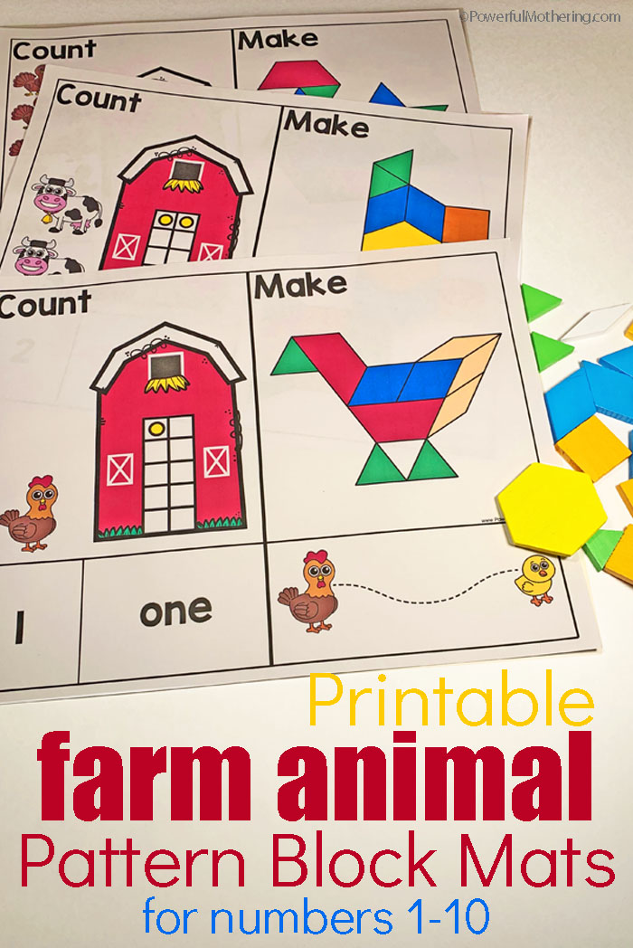 photo regarding Printable Numbers 1-10 called Farm Animal Habit Block Mats For Quantities 1-10