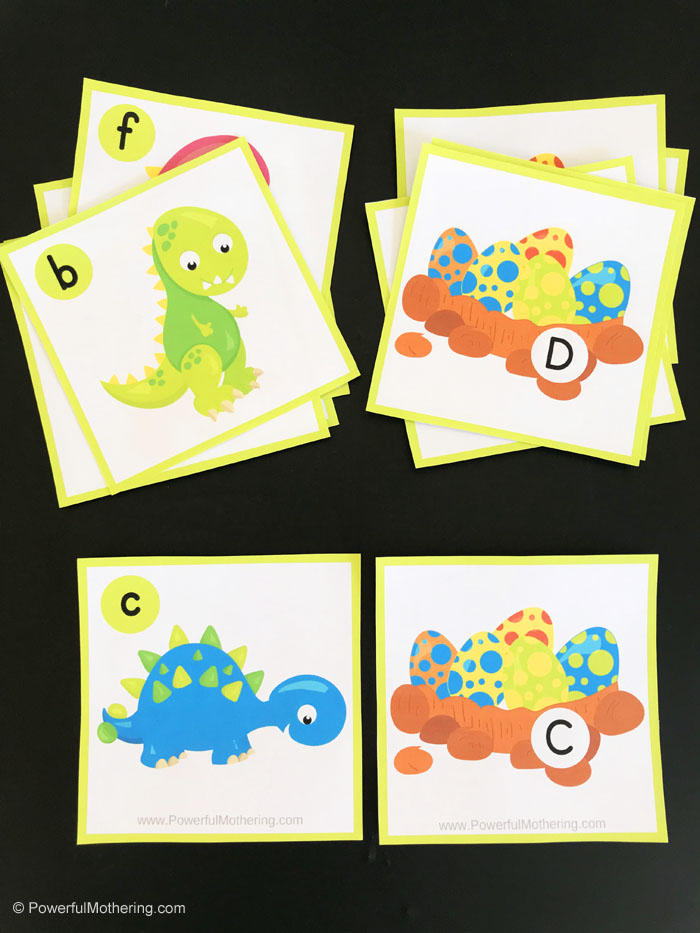 Dinosaur printable Alphabet Card Games. Including upper and lowercase letters as well as consonants vs. vowels. This Dino Game is fantastic for preschool and kindergarten!