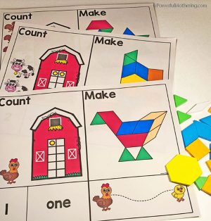 A farm themed pattern block mat set for numbers 1-10. Excellent for practicing number sense, strengthening fine motor and patterns as well as prewriting.
