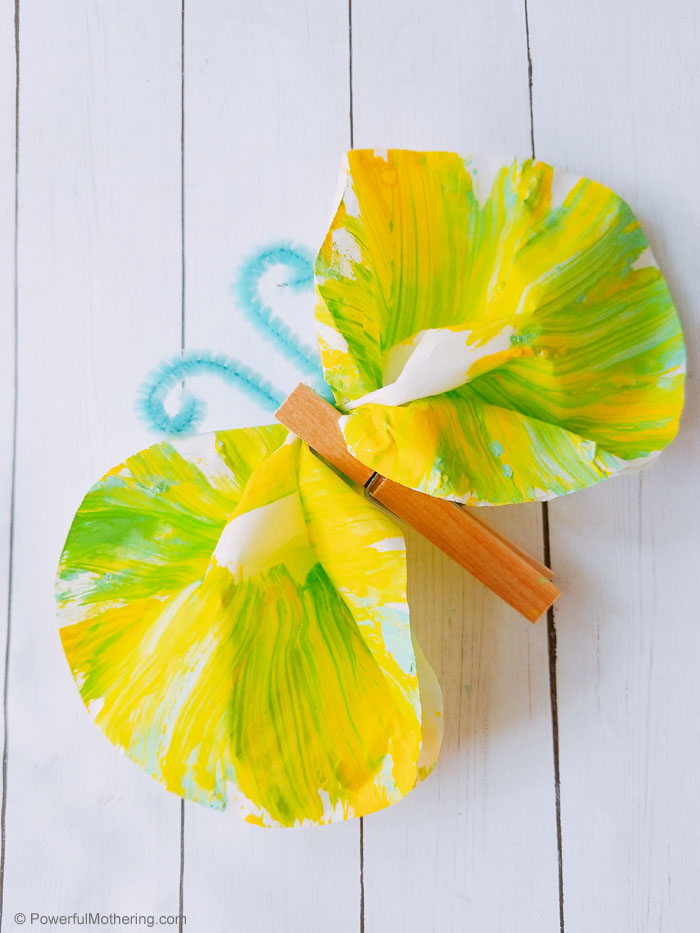 Simple Butterfly Craft created with paint and coffee filters!