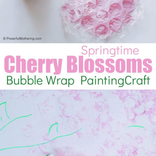 A simple & fun springtime Cherry Blossom Craft for kids using bubble wrap!