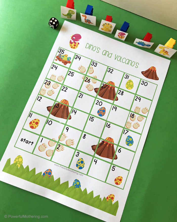 Dinosaur and Volcano printable game for kids. Similar to Shoots and Ladders.