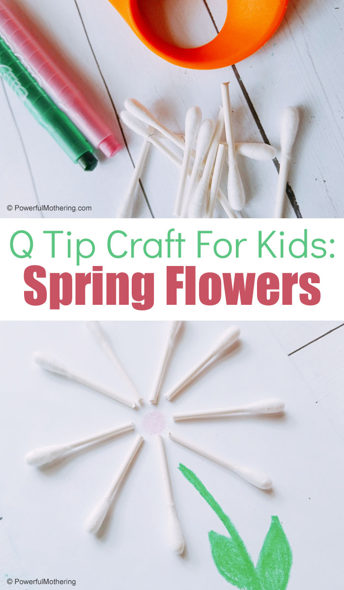 An adorable and easy spring flower craft for kids using q-tips. This is fantastic for strengthening creativity and fine motor skills!