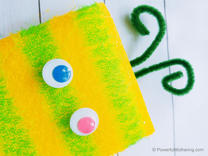 A simple craft for kids to create a monster out of an upcycled sponge.