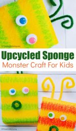 Upcycled Sponge Monsters Craft for Kids